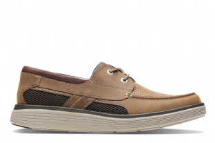 Clarks Mens Un Abode Step Dark Tan Shoes